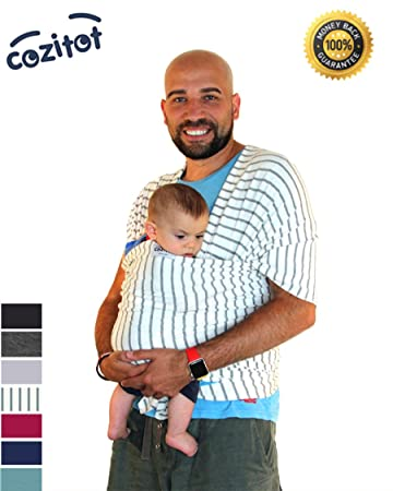 e74759347ef Amazon.com   Striped Grey Baby Sling Carrier Wrap by Cozitot