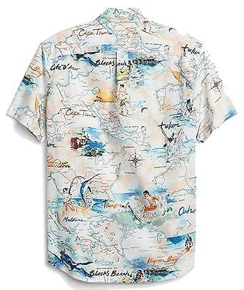 World Map Button Down Shirt.Amazon Com Gap Mens Global Map Short Sleeve Button Down Shirt