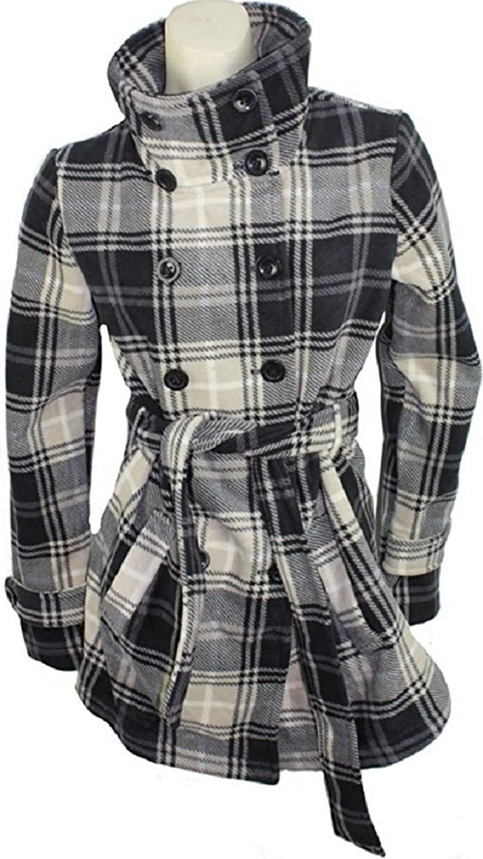 Ike Behar Womens Belted Jacket (Grey/Beige, Small)