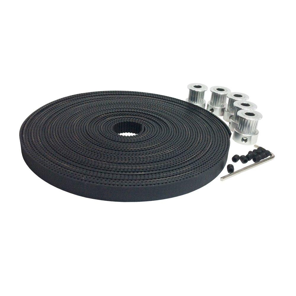 2GT Timing Belt/&Pulley BEMONOC 5pcs GT2 Aluminium Timing Belt Pulley 20 Teeth 6.35mm Bore Width 10mm and 5Meters 2GT Open Ended Timing Belt Width 9mm Pitch 2mm