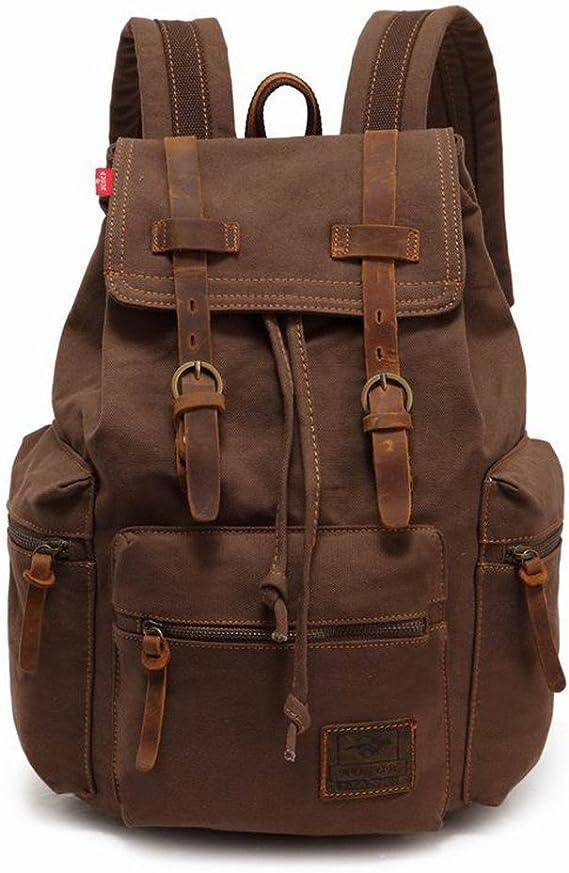 15.6 Laptop Backpack Canvas Rucksack Shoulder Satchel Daypack for Men