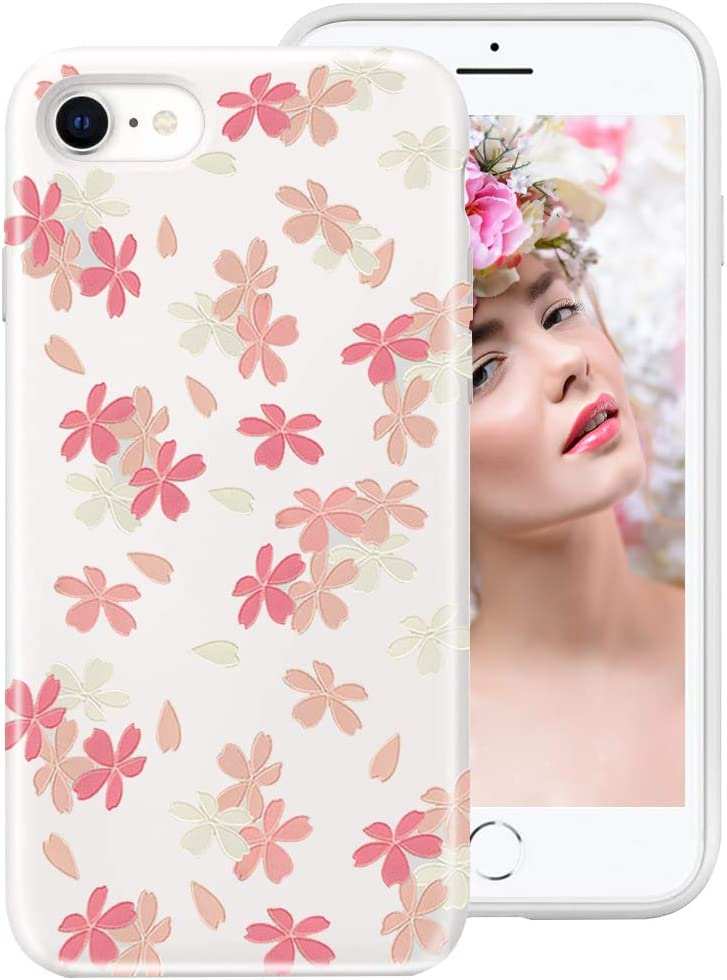 iPhone SE 2020 Case,iPhone 8 Case,iPhone 7 Case for Girls Women, 3D Relief Floral Flower Cute Design Translucent Soft Silicone Protective Phone Case Cover for Apple iPhone SE2/8/7,Floweret
