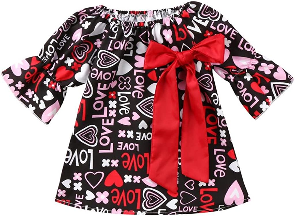 WARMSHOP Stylish Girls Ruffle Sleeve Love Letter Pattern Bowknot Party/&Daily Pullover A-Line Dress