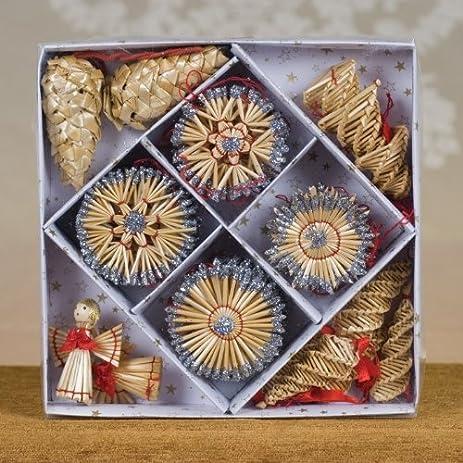 Amazoncom Christmas Straw Ornaments  Set of 44 pieces Glitter
