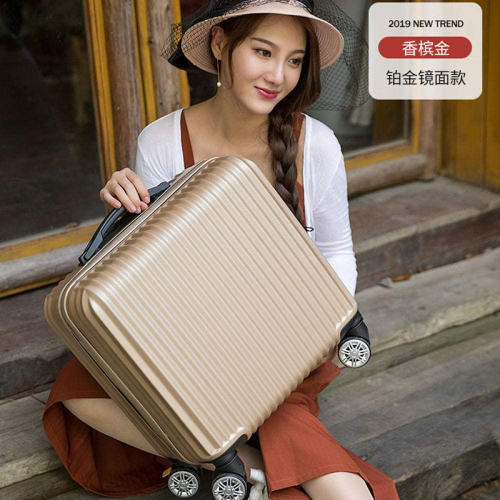 BUYGO Small Suitcase Female 18 Inch Boarding Case Trolley Case Password Box Travel-M Mirror Platinum_18 Inch [Horizontal Version]