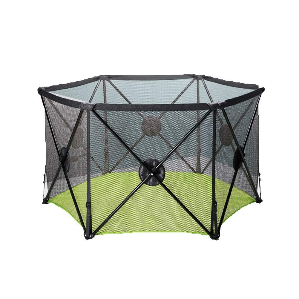 少年少女のためのキャリーケースフェンス、6ペインのベイビープレイペン付きの屋内と屋外のポータブルプレイグラウンドをプレイ (色 : Green)  Green B07H49PF9Y