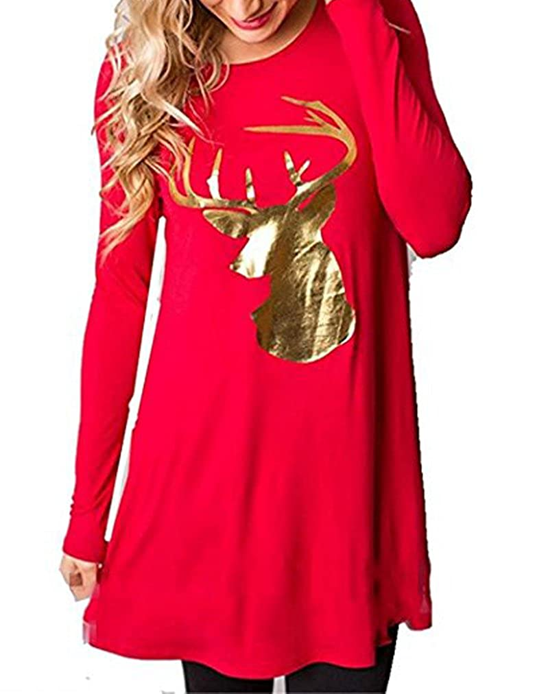 b20996312453 Women s Christmas Party Reindeer Sequin Print Stripe Elk T-Shirt Dress Top  at Amazon Women s Clothing store