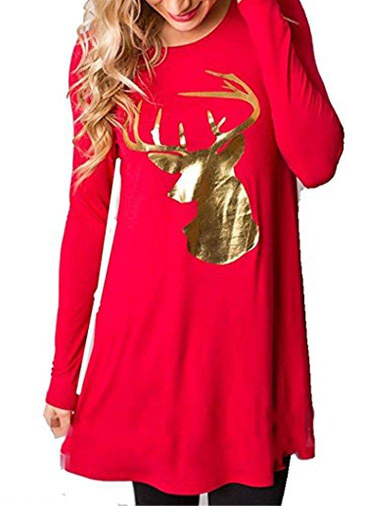 Sherosa Women's Ugly Christmas Santa Print Long Sleeve Xmas Gifts Party Dress (Red 1, 3XL)
