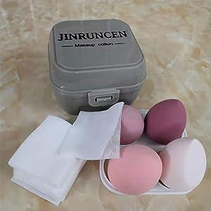 JINRUNCEN 4 Pcs Dry and Wet Use Makeup Sponge Set Blending Sponge for Liquid, Cream, and Powder with Egg Sponge Blending Holder Box