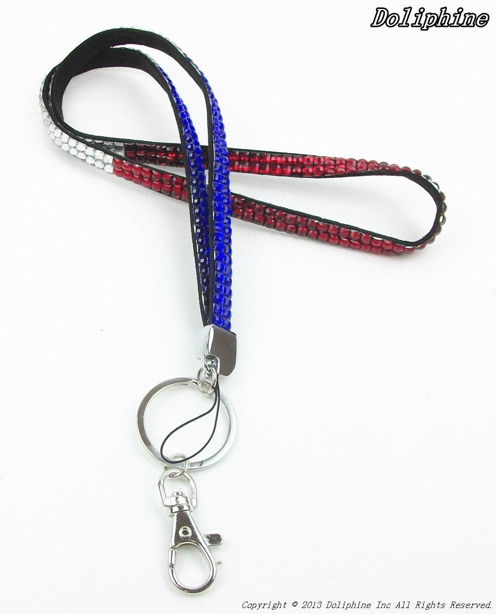 Zahlreiche 17  Farbeful Bling Strass Halskette Lanyards Schlüsselanhänger für Schlüssel ID Badge Handy USB (3 Farben für Wahl) 3 Farben