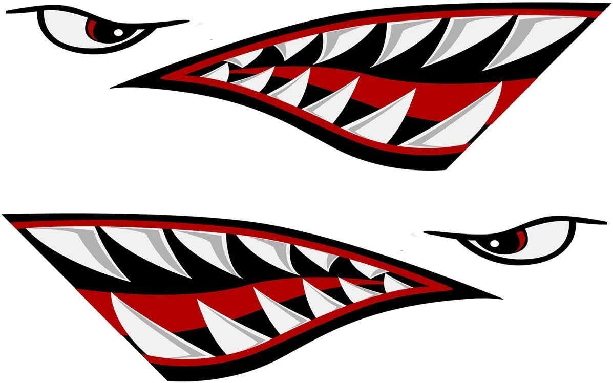 REFLECTIVE 3M Left and Right Big SET | Shark Teeth Mouth Decals Sticker Fishing Boat Canoe Car Truck Kayak Graphics Accessories