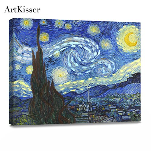 ArtKisser Oil Painting Starry Night 1889 by Vincent Van Gogh Canvas Wall Art Modern Giclee Abstract Landscape Home Decor Wooden Framed Stretched Prints on Canvas Reproduction Ready to Hang 16' x 12'