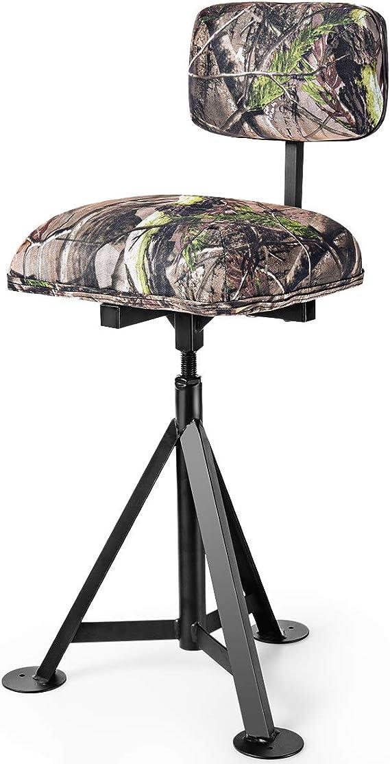 Portable Swivel Hunting Chair Folding Deer Stool Turkey Padded Blind Seat Back