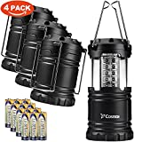 LED Camping Lantern - 30 LED Ultra Bright Camping Lantern, Costech Portable Collapsible Lightweight Lighting Outdoor Adventure Hiking Light Lamp (Black 4 Pack)
