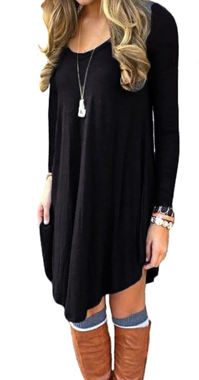 Lofbaz Women's Long Sleeve Casual Loose T-Shirt Tunic Dress