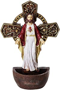 DIVINITY COLLECTION The Sacred Heart of Jesus Holy Water Font Religious Sacrament Wall Decor 6.75 inches