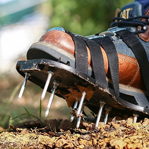 MoYag Lawn Aerator Shoes, Universal Size,Adjustable Straps,4 Aluminum Alloy Buckles Spiked Aerating Lawn Sandals, 26 Nails Aerating Your Lawn Yard by MoYag (Image #1)