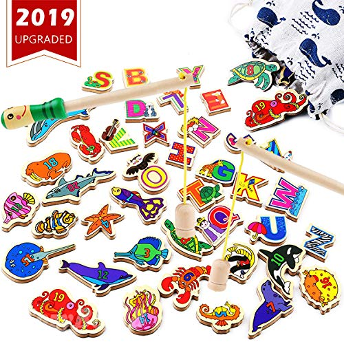 (CozyBomB Wooden Fishing Game for Kids - Magnetic Alphabet Number Fish Magnet Catching Counting Board Games Toys for 2 3 4 Year Old Girl Boy Toddlers Birthday Toy Learning Education Math with Poles )