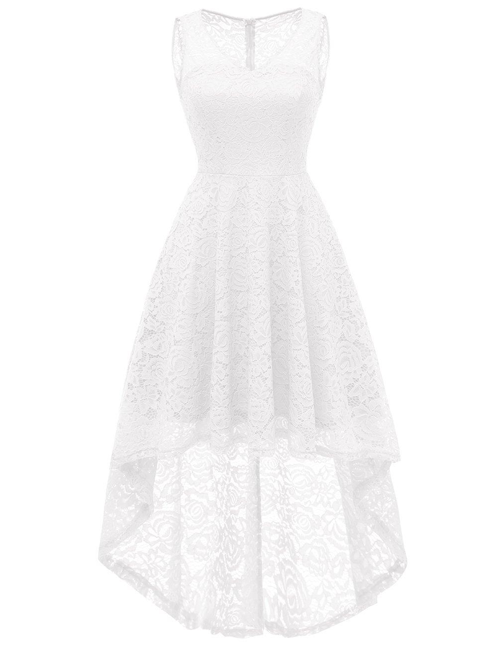 DRESSTELLS Women's Cocktail V-Neck Dress Floral Lace Hi-Lo Formal Swing Party Dress White XL by DRESSTELLS (Image #1)