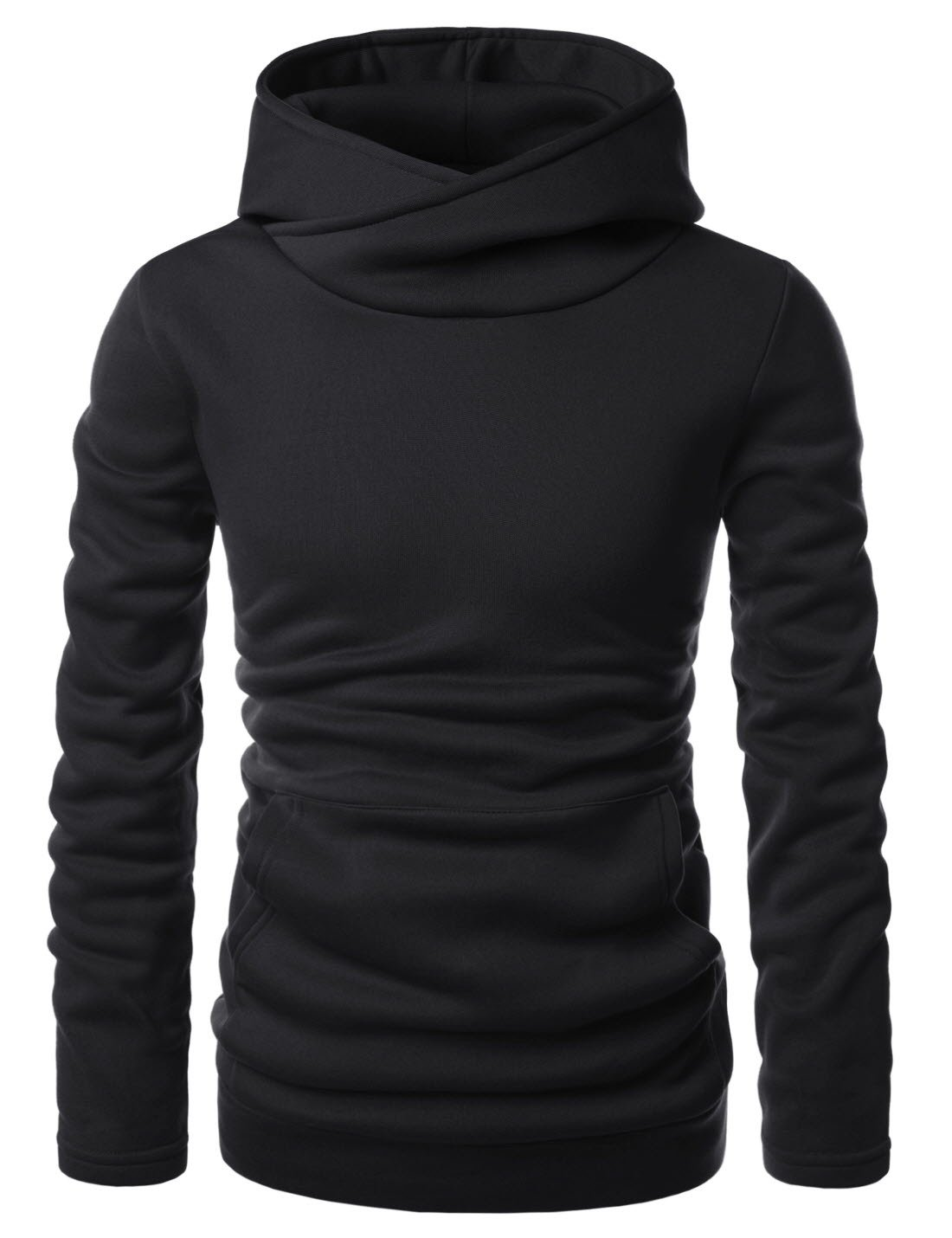 Showblanc (SBNKH510) Mens Stylish Pullover Funnel Collar Fleece Lined Hooded Sweatshirt BLACK US XL(Tag size XL)
