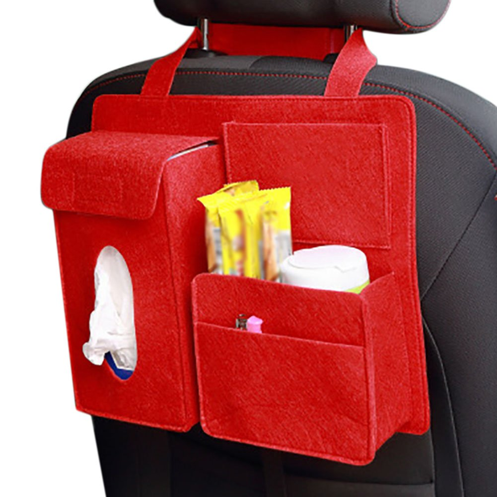 Chytaii Car Seat Organiser Multi-Pocket Travel Storage Bag for Kids with Tissue Box Drink Holder Black