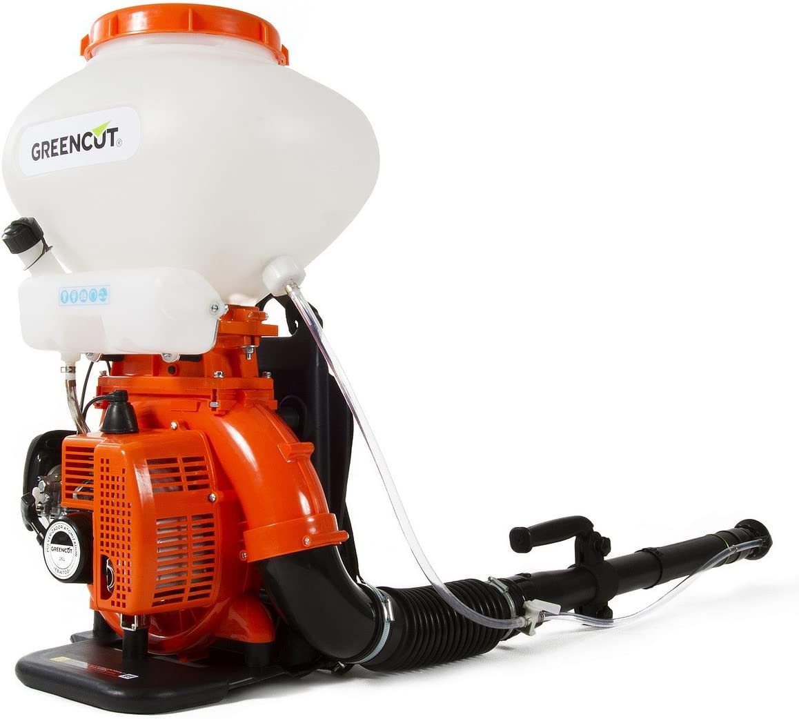GREENCUT EBW420X - Sulfatador mochila gasolina liquido-polvo depósito 26L, Fumigador y Soplador con motor 42cc, Máquina 3 en 1: Sulfatador, Fumigador y Soplador