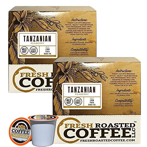 - Fresh Roasted Coffee LLC, Tanzanian Peaberry Coffee Pods, Light Roast, Single Origin, Capsules Compatible with 1.0 & 2.0 Single-Serve Brewers, 36 Count