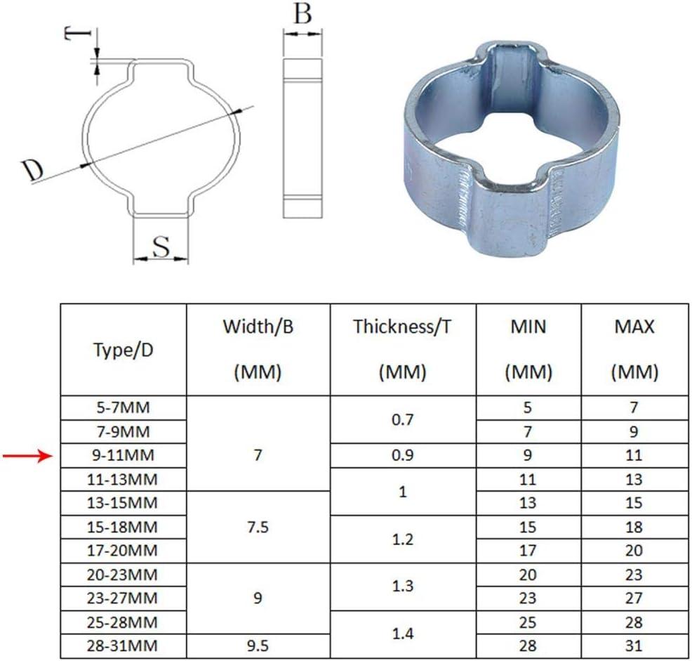 Almencla 10 St/ücke Kohlenstoffstahl Doppel Ohr Schlauch Kraftstoff Clamp Clips F/ür Gas Wasser /Öl Rohr