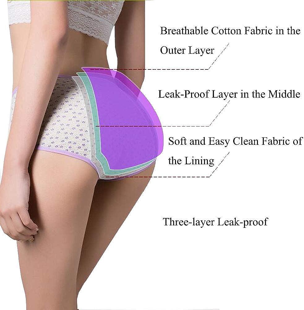 Nightease Mutandine Periodo per Ragazze Mestruale Ciclo Hipster a Prova di perdite Slip Postpartum in Cotone da Donna