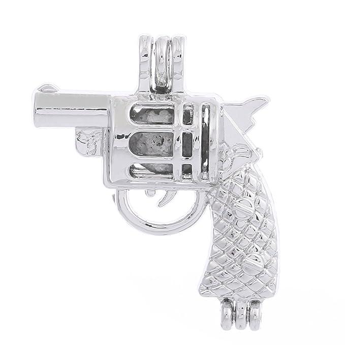 ZEEWELY - 10 colgantes de forma de pistola, chapados en plata ...