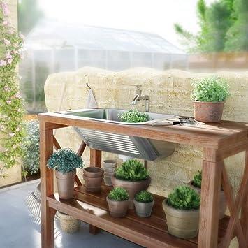 Pila de desagüe – Fregadero para interior y exterior satinado/brillo Incluye sifón y desagüe – Lavabo, fregadero, fregadero, lavabo.: Amazon.es: Bricolaje y herramientas