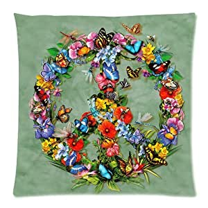 Personalized Butterfly Heart Throw Pillow Cover : Amazon.com: Floral and Butterfly Combine Peace Sign Custom Zippered Pillow Cushion Case Throw ...