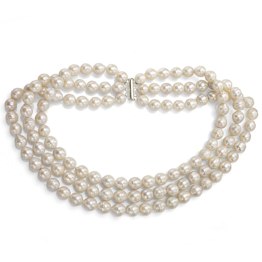 Sterling Silver 3-rows 10-12mm White Off-shape Freshwater Cultured Pearl Necklace, 18''