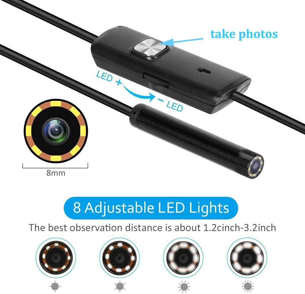 QMMB Inspection USB Endoscope pour Iphone,Soft,1m Cam/éra Dinspection Lobjectif 8Mm Cam/éra HD 1200P IP68 Endoscope /Étanche avec Trois Prises USB pour Android