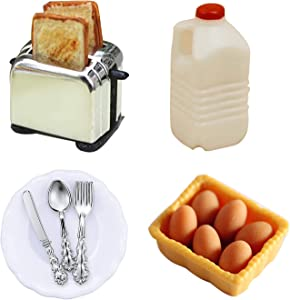 15 Pcs Dollhouse Decor Kitchen Accessories,1:12 Scale 1Pc Miniature Toast Machine with 2Pcs Toast Toys,1Pc Milk Bottle, 1Pc Boxed Egg Model, 1Pc Plate and 3Pcs Knife Fork Spoon for Kids Gift