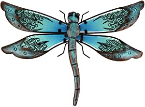 Liffy Metal Dragonfly Wall Decor Outdoor Garden Art Decorations Blue for Living Room Bedroom