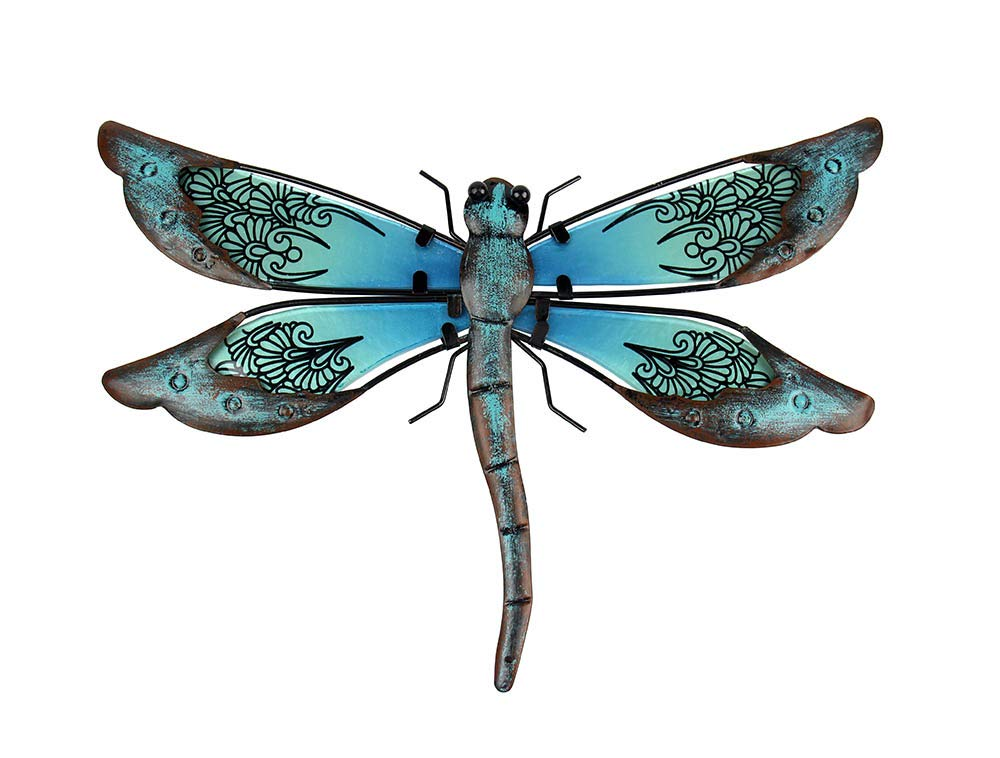 Liffy Metal Dragonfly Wall Decor Outdoor Garden Art Decorations Blue for Living Room Bedroom by Liffy