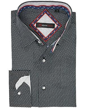 Wayne Men's Long Sleeve Button Down Dress Shirt Button Front Shirt Tucked Untucked