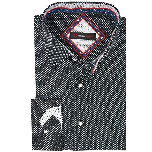 alpine swiss Wayne Men's Long Sleeve Button Down Dress Shirt Button Front Shirt Tucked (Folded Collar Long Sleeve)