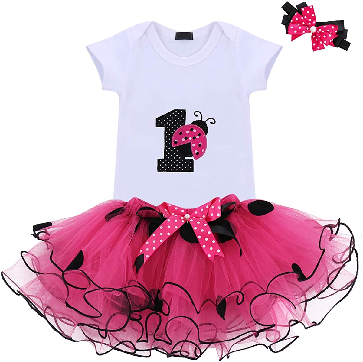 Baby Girls 1st Birthday Cake Smash 3pcs Outfits Set Cotton Romper Bodysuit+Tutu Dress+Flower Headband Princess Skirt Clothes