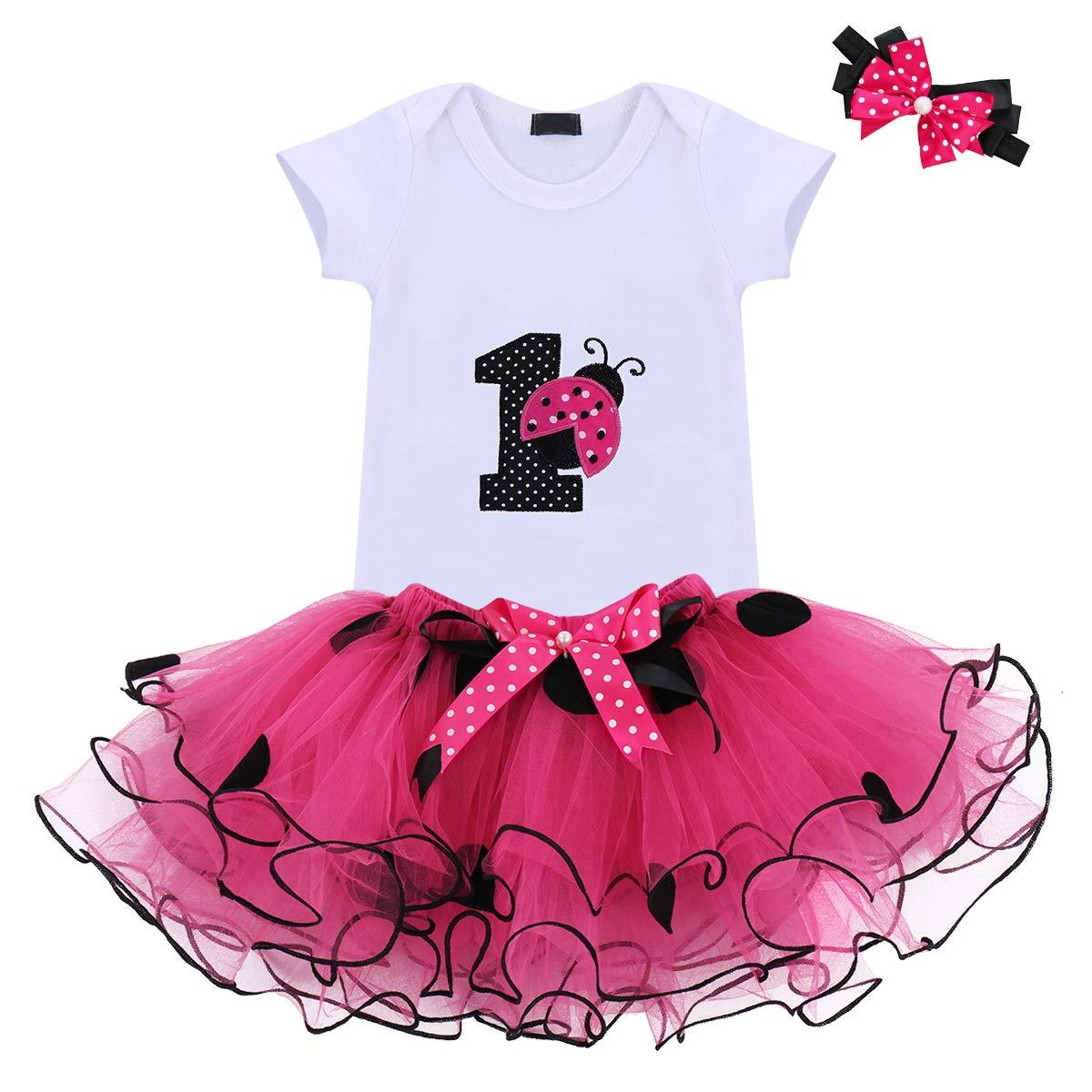 4b73fea6 Amazon.com: Baby Girls 1st Birthday Cake Smash 3pcs Outfits Set Cotton  Romper Bodysuit+Tutu Dress+Flower Headband Princess Skirt Clothes (3pcs Hot  Pink ...