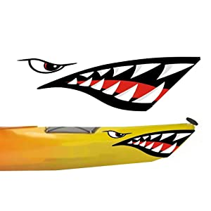MOOCY 2 Pieces Shark Teeth Mouth Decals Sticker for Canoe Kayak Surfboard Ocean Boat DIY Funny Decor
