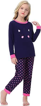 Hawiton algodón Pijama niño Invierno 2-11 años,2 Piezas Camiseta con Estampado Animal de Dibujos Animados y Pantalones Largos,Ajuste Ceñido