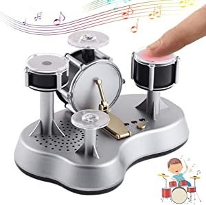 Willcome Electronic Desktop Drum Set Finger Touch Drum with Sound Novelty Musical Toy for Kids and Adults Gifts