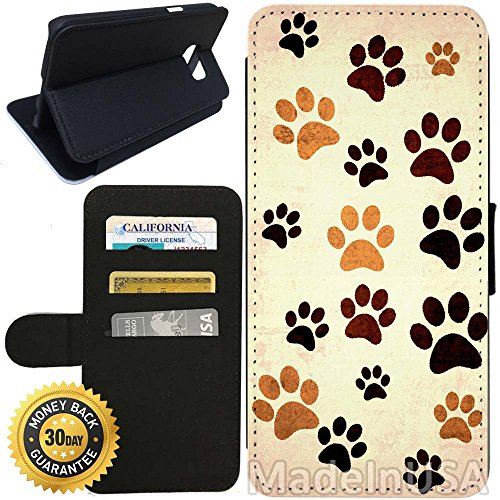 Wallet Paw Prints (Flip Wallet Case for Galaxy S7 (Paw Print Design) with Adjustable Stand and 3 Card Holders   Shock Protection   Lightweight   Includes Stylus Pen by Innosub)