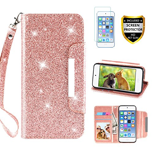 Ipod Touch Case Holder - iPod Touch Case 5th / 6th Generation, with Screen Protector, TPU + Leather Bling Glitter Flip Wallet Kickstand Strap Wrist Credit Card Holder Slot Girls/Women for Apple iPod Touch 5/6, Rose Gold