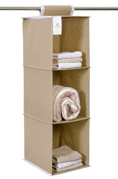 HomeStrap Hanging 3 Shelf Wardrobe Organizer- Beige