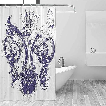 QIAOQIAOLO - Cortina de ducha duradera con diseño de flor de lis ...