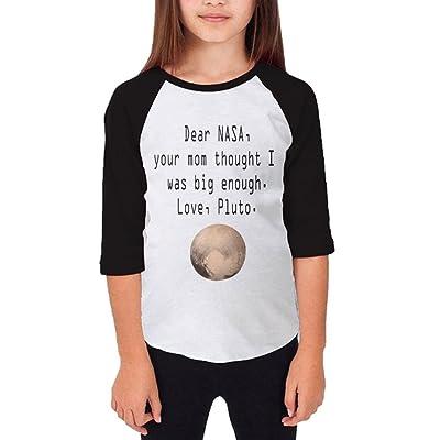 Huazh Dear NASA Youth 3/4 Sleeves Raglan T Shirt 100% Cotton Child Slim Fit Sports Uniforms