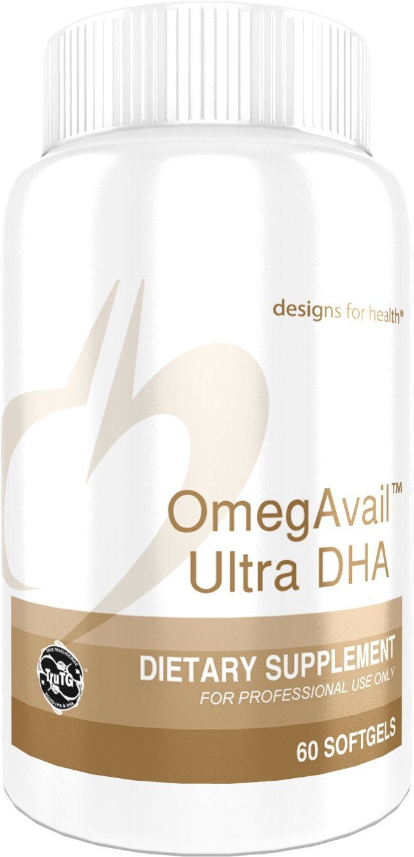 Designs for Health - OmegAvail Ultra DHA - 500mg DHA, 110mg EPA Triglyceride (TG) Fish Oil, 60 Softgels